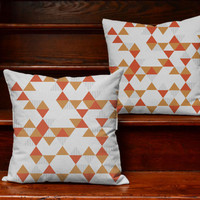 Mod Triangle Pattern Throw Pillows - Orange and Rust Colored Retro Print - Pillow Covers with or without Cushion Inserts, Modern Room Decor
