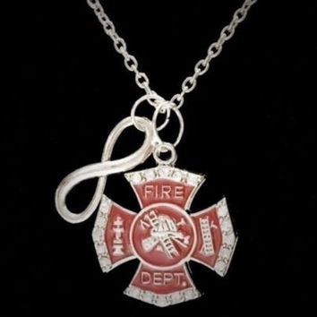 Infinity Maltese Cross Fireman Firefighter Firefighters Wife Girlfriend Necklace