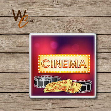 Drink Coaster, Cinema Handmade Ceramic Tile Coasters, Movie Time, Movie Tickets and Film, Fun Cinema Home Decor, Theater Room, Made To Order