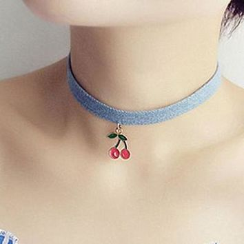 (1Pcs/Sell) Blue Ribbon Cherry Trendy Sexy Hollow Flower Pendant Water Drop Chokers Necklace Collar Jewellry Women Jewelry