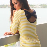 Navy and Yellow Striped Top with Back Bow