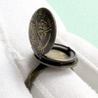 Poison Ring - Brass Locket CIJ   FREE SHIPPING