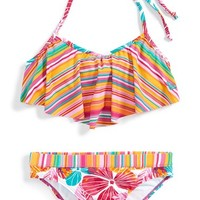 Girl's Roxy Flower & Stripe Print Two-Piece Flutter Swimsuit,