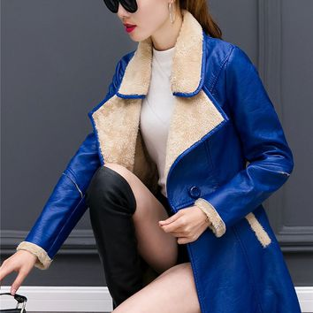 New Women Trench Coat Upset Keep Warm Add Wool Slim Fur Leather Coats Black Wine Red Sapphire 569