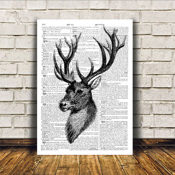 Wall decor Animal art Deer poster Dictionary print RTA112