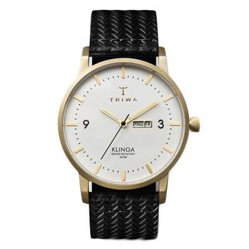 Modern Brushed Gold Accent Timepiece by TRIWA