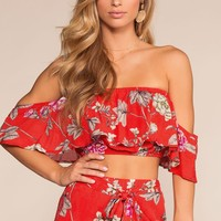 Bloom With A View Off The Shoulder Crop Top - Red