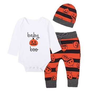 Baby Girl Festival Clothing Set Infant Newborn Cotton Cartoon Pumpkin Romper + Pants + Hat Toddler Boy Halloween Clothes Outfits