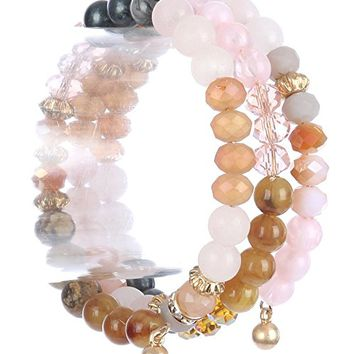 Pink Natural Stone Bead Coil Wire Wrap Bracelet