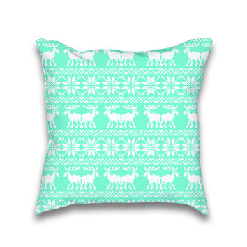 Ugly Mint Holiday X-Mas Pattern Throw Pillow