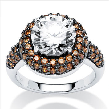 Round Chocolate Cubic Zirconia Halo Ring in Platinum plated over brass big Simulated diamond rings