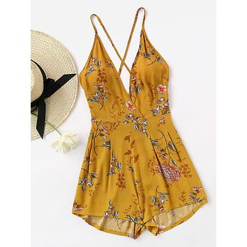 Fashion Strap Sleeveless Deep V-Neck Backless Flower Print Romper Jumpsuit Shorts
