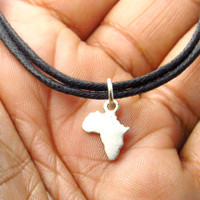 Map of Africa Necklace Charm Adjustable Choker