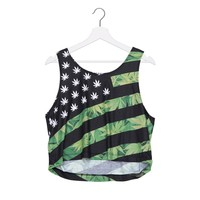 High Quality Crop Tops 3D Print USA Weed Sexy Majie  Kawaii  Women Tank Tops Sleeveless Vest For Girls  Irregular Plus Size Girl