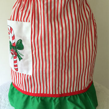 Retro Christmas Apron Candy Striped Candy Cane Red and Green Vintage Kitchen
