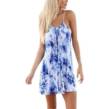 Spaghetti Strap Blue Tie Dye Beach Dress