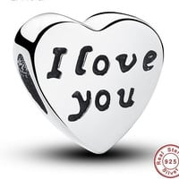Authentic S925 Sterling Silver Charms Words Of Love Engraved Heart For Bracelets Jewelry