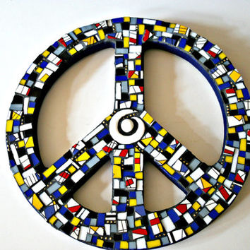 Etsy Mosaic Nautical Peace Sign - Blue, Yellow, Red, White, Black, Grey - Broken China and Stained Glass - 10 inches