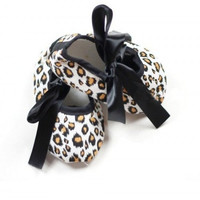 0-18M Toddler Baby Girls Leopard Ribbon Soft Sole Crib Shoes Sneaker Infant First WalkersSM6
