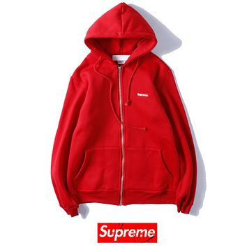 Champion embroidery men and women with the same cardigan zipper hooded sweater Red