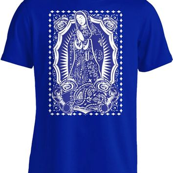 Tshirt Short Sleeve Tops Virgin Mary Blue Bandana Tee T Shirt Our Lady Virgen Guadalupe Mexican Art Urban