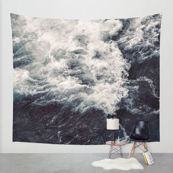 Wall Tapestry, Wall Hanging, Ocean Beach Waves, Coastal Wall Art, Large Photo Wall Art, Modern Tapestry, Home Decor