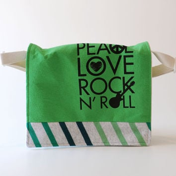 Messenger Bag Peace Love and Rock N Roll by merahmuda on Etsy