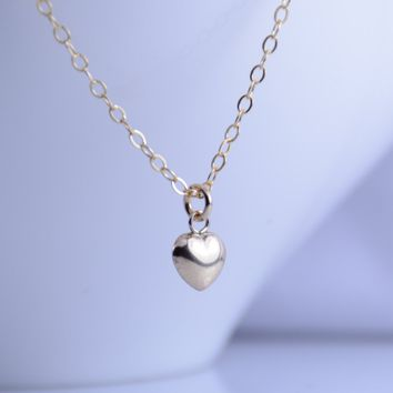 Tiny gold heart necklace, Small heart puff necklace, Gold filled dainty heart necklace