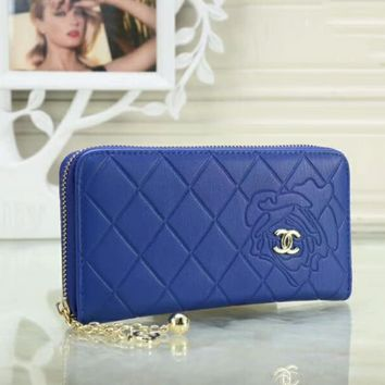 CHANEL Popular Women Pure Color Leather Metal Zipper Wallet Purse(5-Color) Blue I-OM-NBPF