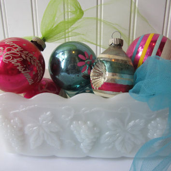 Vintage Pink Aqua Christmas Tree Ornaments Collection of Seven