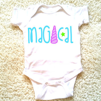 Magical baby onepiece, baby girls, newborn, 6 months, 12 months, 18 months, funny graphic kids shirt, baby girl clothing