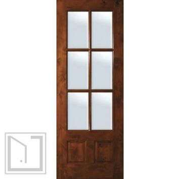 Slab Front French Single Door 96 Wood Alder 2 Panel 6 Lite TDL Glass