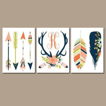 ARROW FEATHER Wall Art,Deer Antler Flower Monogram,Baby Girl Nursery,Floral Woodland Nursery,Boho Nursery,Girl Tribal Nursery Decor Set of 3