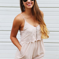 Here Comes The Sun Taupe Romper