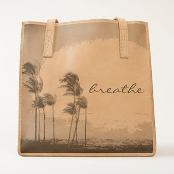 """Breathe"" Hawaiian palm trees photo leather tote"