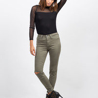 High Waisted Knee Slit Skinny Pants