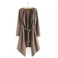 Solid Drape Open Front Long Sleeve  Irregular Suede Jacket