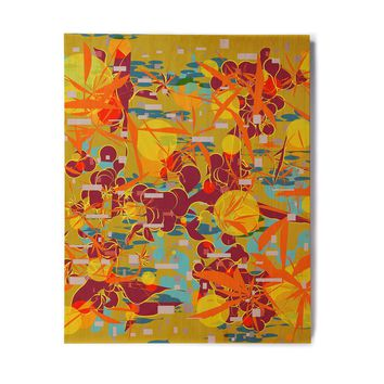 "Frederic Levy-Hadida ""Foliage Folie 3"" Maroon Yellow Digital Birchwood Wall Art"