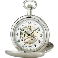 Gotham Men's Silver-Tone 17 Jewel Mechanical Double Cover Pocket Watch # GWC14051SA: Watches: Amazon.com