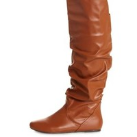 Slouchy Flat Over-the-Knee Boots by Charlotte Russe - Cognac