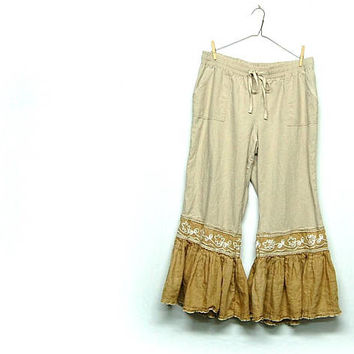 Ruffle Capris, Boho Linen Pants, Shabby Chic Bloomers, Pantaloons, Mori Girl Style, Sustainable Upcycled Clothing by Primitive Fringe