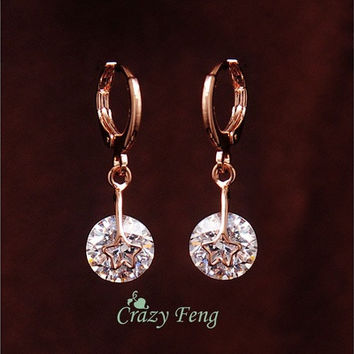 Hot New Girl's Rose Gold plating Clear CZ stone Star Pierced Dangle Drop Earrings Jewelry