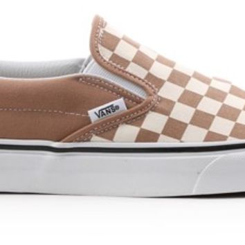 Vans Classic Slip-On Shoes - (checkerboard) tiger's eye/white - Free Shipping