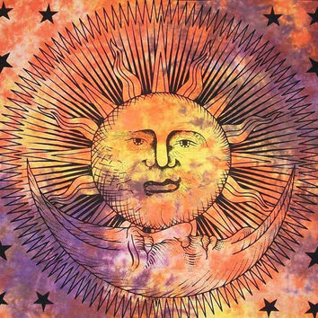 Sun moon Tapestry Tie dye Indian Mandala Tapestry Twin tapestry sun face tapestries Wall Hanging Bohemian Bedspread Dorm Decor Throw