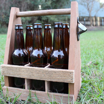 Wooden Beer Caddy, Six Pack Carrier, Handmade Beer Tote, Groomsmen Gift