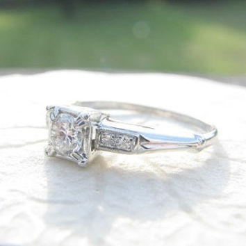 Art Deco Diamond Engagement Ring, Fiery Transitional Cut Diamond, Elegant Platinum Design, Fine Quality, Circa 1930s