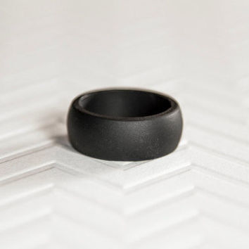 Silicone Wedding Band - Black Mens Silicone Wedding Band Ring Ring Gift for Men Gift For Him Gift For Husband Gift