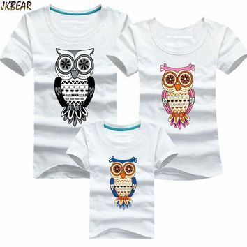 Mother's Day Gift Lovely Family Matching Night Owl Print Short Sleeve T Shirts Cute Mother Daugther Casual Tee Plus Size S 4xl