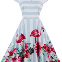 Vintage Short Sleeve Floral Swing Dress - NOVASHE.com