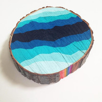Hand Painted Blue Ombre Tribal Tree Slice